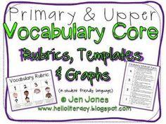 Vocabulary Rubrics,Vocabulary Notebook Templates & Student Data Graphs for Common Core Vocabulary  Instruction