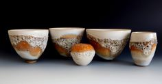 Thrown stoneware with lava/crater glazes: Autumn Collection