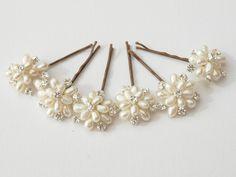 Wedding Pearl Floral Hair Pins Set of 6 Bridal, Bridesmaid Hair Accessories with Ivory Freshwater Pearls and Silver Swarovski Rhinestones. £57.50, via Etsy.