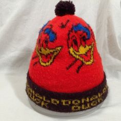 9093ff52a5f4e Vintage Donald Duck Kids Youth Winter Ski Knit Hat Tobagon Red Brown Tassle