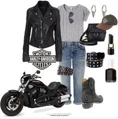 Top 20 Best Fashion Sets for the Ladies - Harley Davidson Edition Biker Chick Outfit, Biker Chick Style, Biker Outfits, Rock Elegante, Biker Wear, Motorcycle Style, Motorcycle Outfit, Fashion Outfits, Fashion Sets