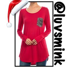 RED LONG SLEEVE TOP WITH SEQUIN POCKET - SMALL The perfect answer to your wardrobe needs with jeans or leggings !!  Soft, cuddly jersey cotton top, with a classy sequin pocket for a little pizzazz.  Made of 95/5, Rayon/Spandex, and is 32 inches long; has a shirttail hemline.  Available in Small, Medium, and Large, only.  No trades or holds; price is firm, unless bundled.  This listing is for a size SMALL Brenda's Tops Tees - Long Sleeve