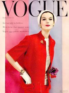 Anne St. Marie, Vogue Feb. 1955, cover by Erwin Blumenfeld