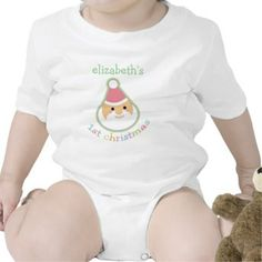 """Baby's First Christmas Cute little Santa onesie to celebrate Baby's first ever Christmas with this adorable little Santa Claus design which reads's """"1st Christmas"""" underneath. Just add your baby's name for a cute keepsake of your child's first Christmas!"""