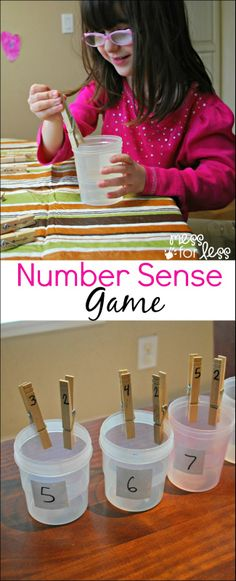 Number Sense Game - using clothespins, kids discover all the ways to make a number. Could use for number sense and use tally marks quantity and number word Math Classroom, Kindergarten Math, Teaching Math, Math Games, Learning Activities, Cognitive Activities, Fun Games, Math Addition, Math Numbers