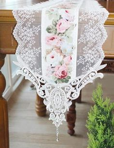 Items similar to Handmade Wedding VTG Handmade Rose Table Doily Runner,Embroidery&Lace Golden on Etsy Table Runner And Placemats, Lace Table Runners, Lace Runner, Handmade Table, Handmade Wedding, Rustic Wedding, Rose Embroidery, Deco Table, Diy Home Crafts