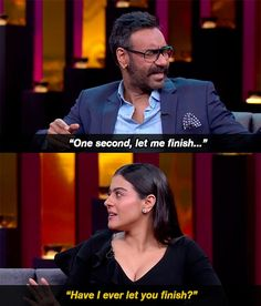 """When this two-second exchange revealed the dynamics of their entire marriage. 16 Moments From Kajol And Ajay Devgn's """"KwK"""" Episode That Were Either Banterous Or Just Plain Mean Bollywood Memes, Bollywood Couples, Bollywood Celebrities, Marriage Words, Koffee With Karan, Gang Up, Playbuzz Quizzes, Brownie Points, World 7"""