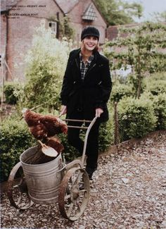 This lady works in her garden, pet chicken at her side! ~ backyard chickens
