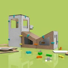 modern museum architectural building model kit with connectors and recycled cardboard