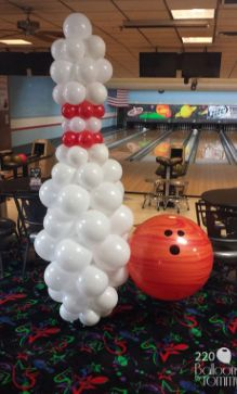 Bowling ball and pin balloon sculptures