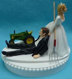Wedding Cake Topper John Deere Green Tractor Themed Farmer Farming Humorous Groom and Bride Reception Fun