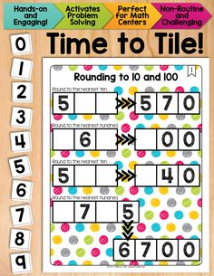 A rounding activity that fosters a true understanding of place value! Math Tiles: Rounding to 10 and 100 is a hands-on activity that takes students' thinking beyond procedures and rote memorization. This engaging resource activates critical thinking and problem solving skills, all while developing algebraic thinking. Students must place 10 number tiles (0-9) on the Time to Tile cards in order to correctly complete rounding problems. $