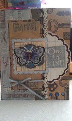 Male Birthday card4/18/12, used chalks, recollections key paper,ckok 1of a kind blue paper,studio 18 butterfly,bling it gemstones,border punch,classic rectangles & scalloped squares spellbinder,ribbon,stickles