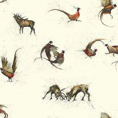 Pheasants and Stags Wallpaper The Hunt Designed by Clare Brownlow W10MHUNT01 | eBay