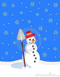 Illustration representing a smiling snowman with a shovel