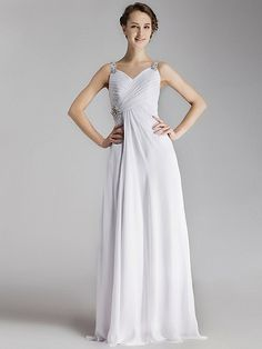 Jeweled Pleated Bodice Chiffon Little White Gown