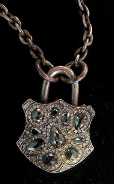 Sevan Bicakci Green and White Diamond Padlock Pendant in 24K Gold and Silver