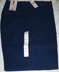 IZOD MEN`S SALTWATER WASHED CLASSIC CHINOS, SIZES: 38X29, 38X30, 40X32 BLUE NWT http://stores.ebay.com/davesbargains7 #SALE #DEALS