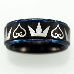 Free Engraving Top Quality Kingdom Hearts & Crowns Design Matte Black Center With Blue Step Tungsten Ring Comfort Fit Design Wedding Ring