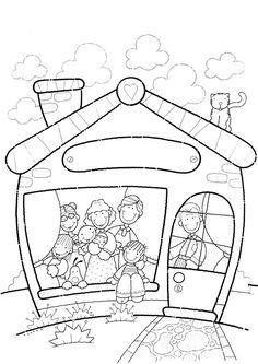 met z'n allen Family Coloring Pages, Colouring Pages, Coloring Pages For Kids, Preschool Family Theme, Preschool At Home, Picture Comprehension, Baby Embroidery, Family Day, Colorful Pictures
