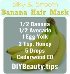 Has the cold winter weather caused your hair to become dull & lifeless? Use this awesome banana hair mask to rejuvenate and nourish to restore your locks to their former glory! Banana Hair Mask, Banana For Hair, Homemade Beauty Tips, Natural Beauty Tips, Banana Health Benefits, Hair Remedies For Growth, Hair Growth, Diy Hair Mask, Extreme Hair