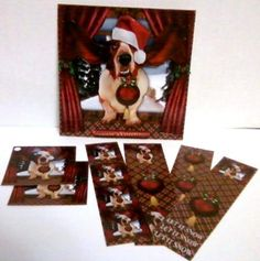 Basset Hound it s Christmas Card Kit on Craftsuprint designed by Tanya Hall - made by Linda Robitaille - This is an amazing card for all dog lovers, especially basset hound owners.I printed these sheets onto high gloss photo paper. I mounted the main card image onto white card stock and attached the insert inside with double sided tape. I applied the decoupage elements with sticky foam dots.This is a wonderful card with four bookmarks and two gift tags. - Now available for download!