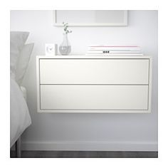 Could make a long walk of storage/desk with EKET Cabinet with 2 drawers, white - white - IKEA Decor, Storage Furniture, Furniture, Painted Drawers, Floating Nightstand, Bedroom Design, Small Bedroom, Ikea Eket, Ikea Bedroom