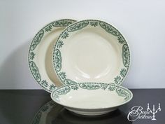 Antique French ironstone GREEN transferware by BeauChateauBoutique