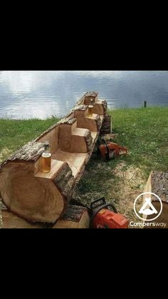 Saw Cut Log Bench - Rough Cut - cabin decor Log Cabin Kits, Log Cabin Homes, Cabins, Log Projects, Outdoor Projects, Easy Projects, Rustic Log Furniture, Garden Furniture, Cheap Furniture