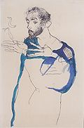 Egon Schiele, Gustav Klimt with blue painter& coat, . Egon Schiele, Gustav Klimt with blue painter& coat, private collection Gustav Klimt, Blue Painting, Painting & Drawing, Gouache, Camille Pissarro, Art Moderne, Art Graphique, Life Drawing, Famous Artists