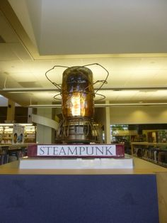 Steampunk September 2014 decorations at the Temecula Public Library Teen Zone.