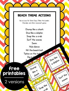 Explore sea life and ocean theme activities with these low-prep summer camp at home ideas. Part of the 12 Weeks of Summer Camp at Home series.Sea Life Action Game Free Printable for Ocean Theme Gross Motor Fun Printable Activities For Kids, Summer Activities For Kids, Playgroup Activities, Youth Activities, Creative Activities, Therapy Activities, Free Printables, Preschool At Home, Preschool Themes