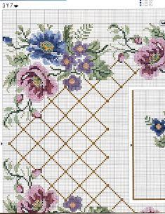 ♥Meus Gráficos De Ponto Cruz♥: Toalhas de Mesa com Rosas em Ponto Cruz 1