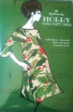 Vintage Hallmark Holly Paper Party Dress I remember seeing this in the Hallmark store. Ghost Of Christmas Past, Merry Christmas To All, Hallmark Christmas, Christmas Makes, Retro Christmas, Vintage Holiday, Christmas Holidays, Christmas Cheese, Vintage Outfits