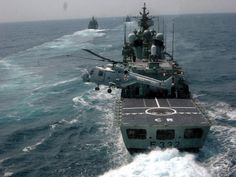 Portuguese navy ship NRP Corte-Real and Lynx helicopter - 21st century