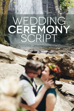 A wedding ceremony script featuring readings about marriage, quotes from The Princess Bride, and a shot of whiskey.