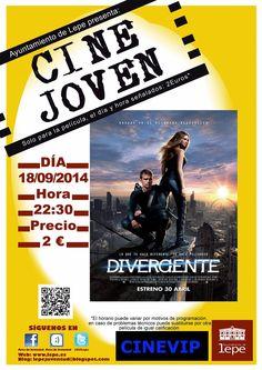 """Cine Joven presenta: """"Divergente"""". El jueves, 18 de septiembre, a las 22:30h. en Cinevip #Lepe #Huelva"""
