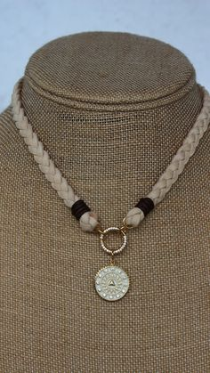Leather Necklace, Ring Necklace, Beaded Necklace, Artisan Jewelry, Handmade Jewelry, Gold Medallion, Deer Skin, Black Star, Braided Leather