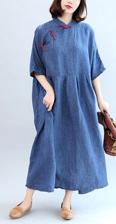 e29e9140f99 blue vintage linen dresses plus size casaul Chinese Button o neck maxi dress
