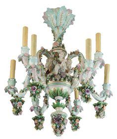 DRESDEN PORCELAIN FLOWER-ENCRUSTED NINE-LIGHT CHANDELIER LATE 19TH CENTURY