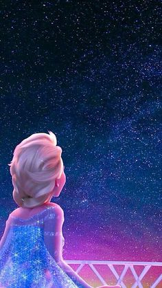 Elsa looking up at the starry night.