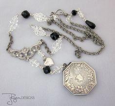 Antique Art Deco Locket Necklace, Long Necklace, Rock Crystal, Black Necklace, Sterling Silver, Silver Locket, OOAK Repurposed Jewelry