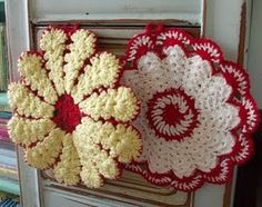 some vintage crocheted hotpads  my grandmother used to crochet these