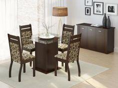 Conjunto de Mesa com 4 Cadeiras Estofadas Madesa - Sofia com as melhores condições você encontra no Magazine Decorevc. Confira!
