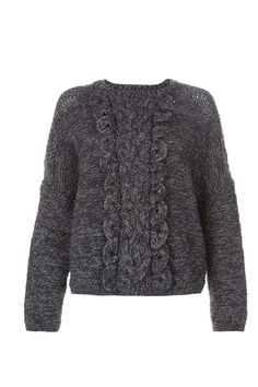 Hand knitted grey jumper in 100% wool. Ruffled centre panel detail with long sleeves. Length 53cm.