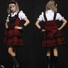 Red Plaid Knee Length Corset Gothic Lolita Fashion Dress + White Blouse + Headband SKU-11402232