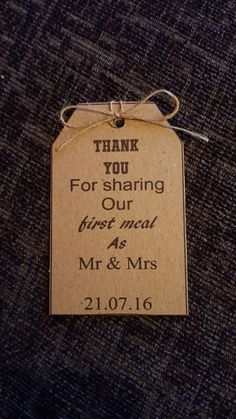 50 Rustic, Personalised Thank You For Sharing Our First Meal as Mr and Mrs Tags