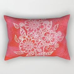 Pink flowers Rectangular Pillow by seelas Oversized Throw Pillows, Down Pillows, Poplin Fabric, Pillow Inserts, Handicraft, Pink Flowers, Hand Sewing, Sleep, Comfy