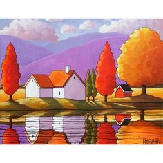 Purple Mountain Autumn Cottages Art Print, Modern Folk Art Colorful Fall Trees in a Watery Reflection Landscape, 2 Sizes Available of Reproduction Giclee Artwork by Cathy Horvath Buchanan