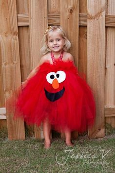 Elmo Inspired Halloween Costume Tutu Dress for halloween or birthday dress, or for dress up playtime. $30.00, via Etsy.